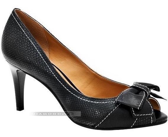 Sapato Peep Toe Preto Feminino Via Uno Salto Alto Cobra