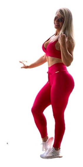 Conjunto Fitness Jacquard Legging Empina Bumbum Top Cropped
