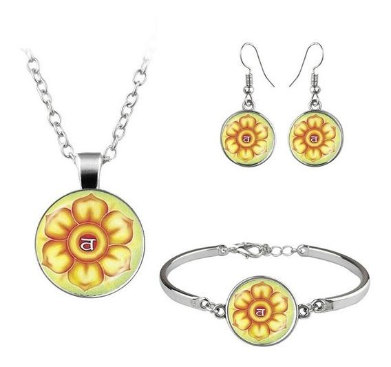 Conjunto 3 En 1 Collar Pendientes Y Pulsera Mandala Flor