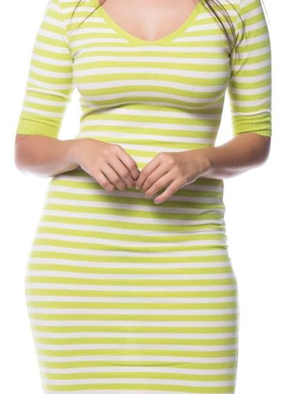 Vestido Listrado Tricot Neon