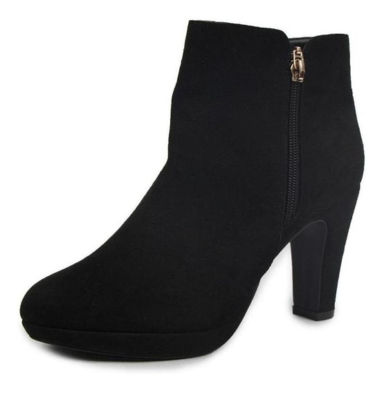 Botines Dama Mujer Tipo Gamuza Negro Casuales