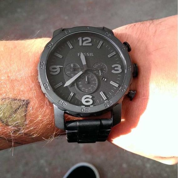 Relógio Fossil Jr1401 Nate Chrono Preto Fosco Original C/ Nf