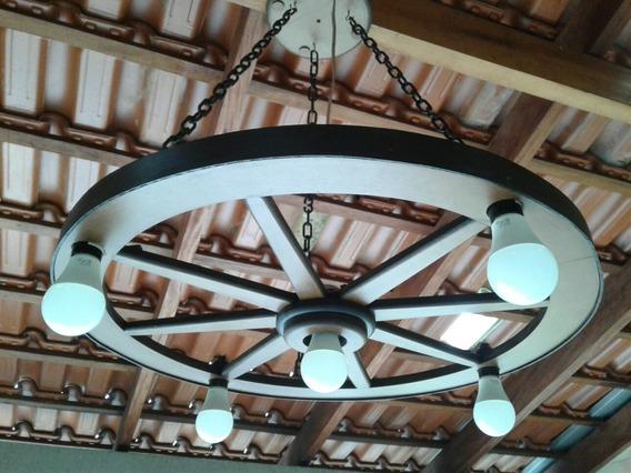 Luminária Roda De Carroça Rústica Grande 5 Bocais