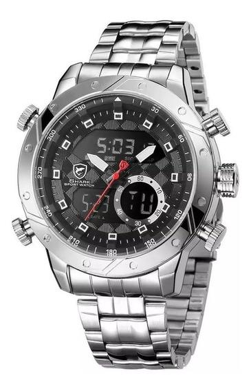 Relógio Luxo Original Shark Aço Importado Anadigi