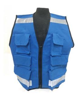 Chaleco Tipo Brigadista Seguridad Azul