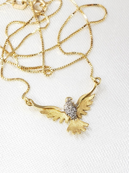 Gargantilha Com Divino Santo De Ouro Amarelo Com Brilhantes