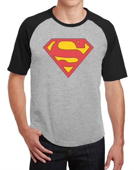Camiseta Masc Raglan Superman