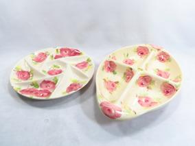Par De Petisqueiras Porcelana Weiss Decada 50/60 Com Florais