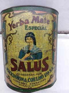 Antigua Lata Yerba Salus 4,600 Kg. Año 1935 (muy Hermosa)