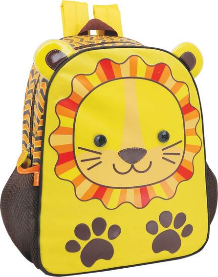 Mochila Escolar Zoo Lion Grande 2 Bolsos Yangzi