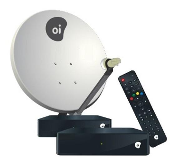 2 Receptor Oi Tv Livre Hd + Antena 60cm Ku Duplo + 34m Fios