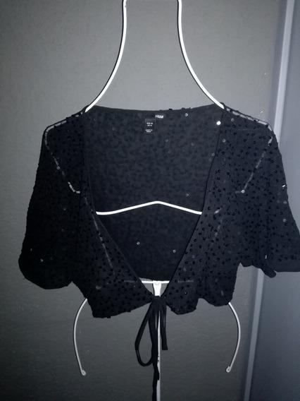 Bolero Negro Vintage De Lentejuelas Talla L H&m