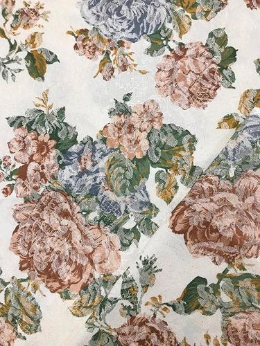 Imagem 1 de 4 de Tecido Estampado Jacquard Floral Vintage Salmão 1m