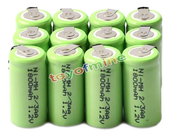18 Bateria Recarregável Ni-mh 1.2v 1800mah 2/3aa C/terminal