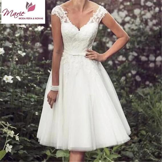 Vestido De Noiva Romântico Curto Civil Barato Decote