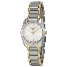 Relógio Tissot Feminino T-wave Madre Pérola Cinza/dourado