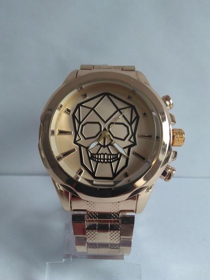 Relógio Masculino Aço Inoxidável Caveira Dourado Promoção