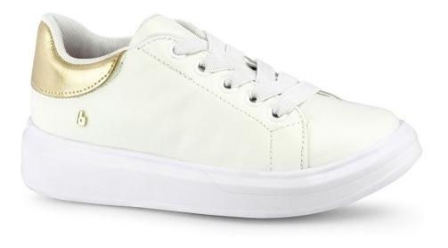 Tênis Infantil Bibi Feminino Branco Ouro Branco Glam -