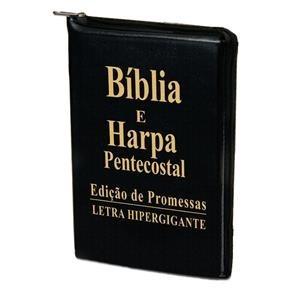 Bíblia Sagrada Letra Hiper Gigante, Harpa E Ziper - Preta