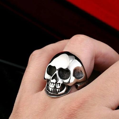 Anel Aço Inox Caveira Punk Rock Gótico Carro Metal Mc Moto