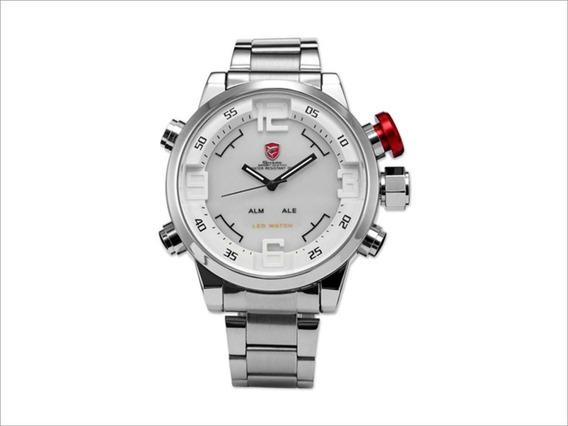 Relógio Esportivo Shark Em Aço Inoxidável Fundo Branco Sh104