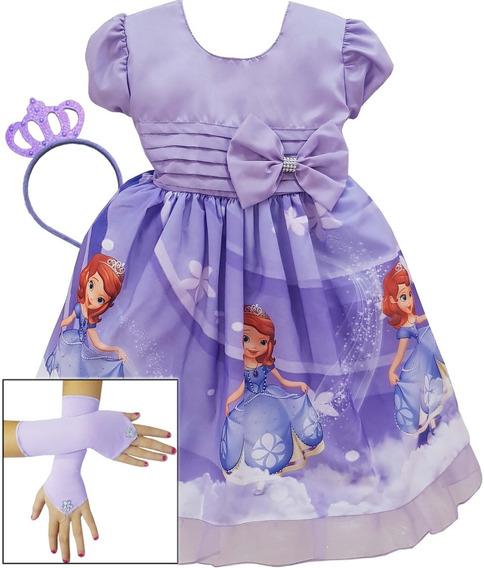 Vestido Infantil Princesa Sofia Festa Luxo Coroa E Luvas