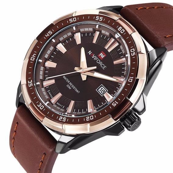 Relógio Masculino Naviforce Nf9056bce Original Marrom Top