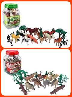 Kit De Dinosaurios Y Animales Granja 20 Piezas C/u Infantil
