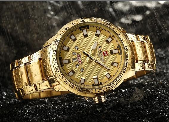 Relógio Naviforce Nf9090 Dourado, Estilo Invicta Luxo Origin