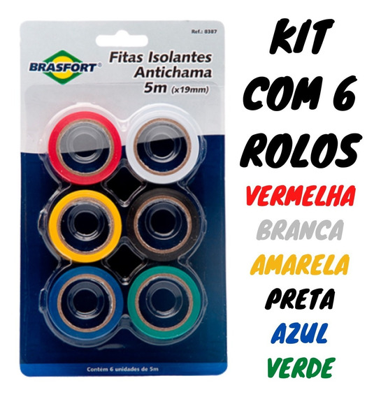 Fita Isolante Colorida Kit C/ 6 Antichama Adesiva 5m X 19mm