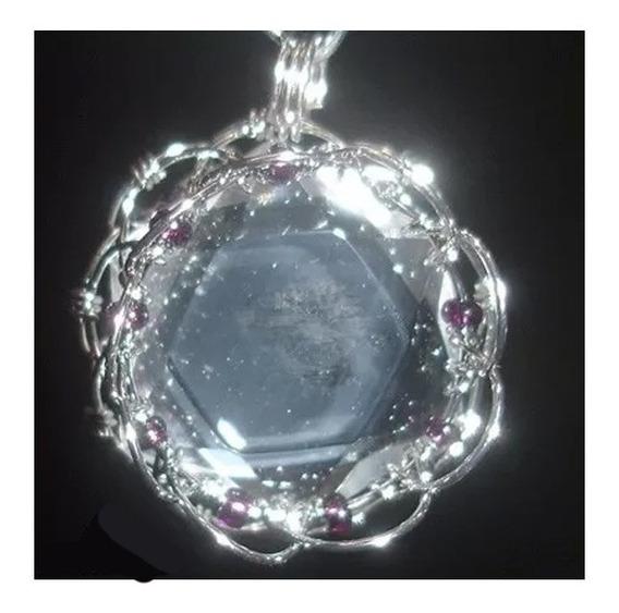 Pingente Mandala Cor Ródio Com Cristal Estrela De Davi