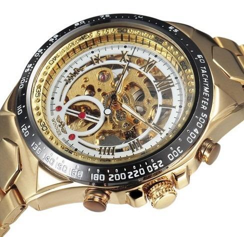 Relógio Masculino Inox Dourado Automático Branco Vencedor