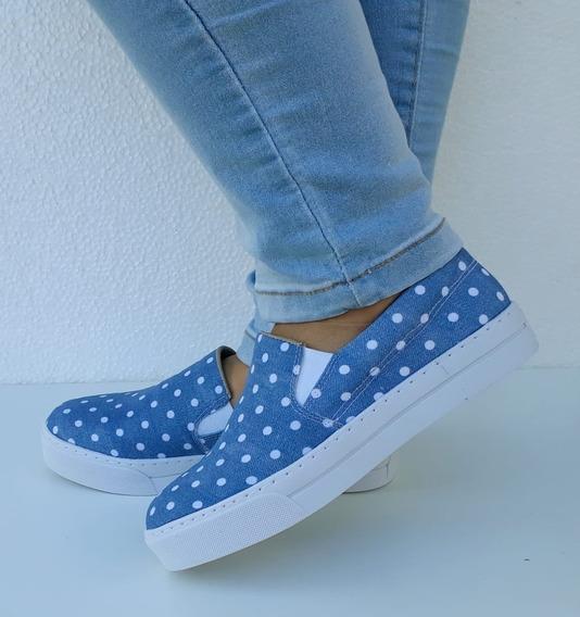 Tênis Feminino Slip On Casual Iate Azul Jeans Poá Lançamento