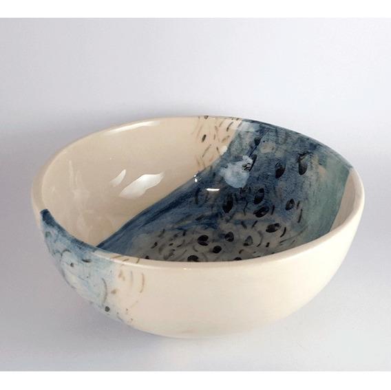 Bowls Cerámica Artesanal - Bowl Hojas Celeste