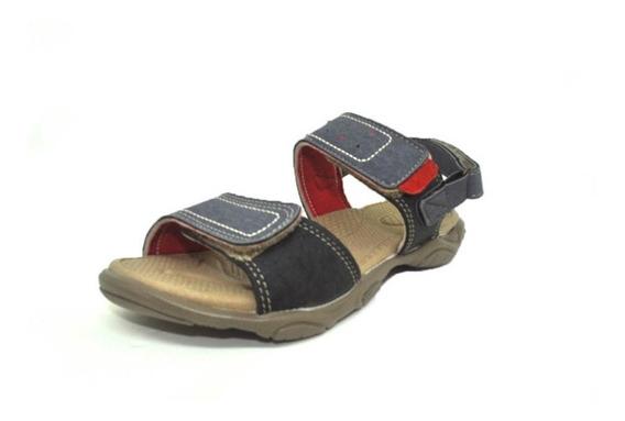Sandália Ortopédica Jeans Infantil Masculina Com Velcro