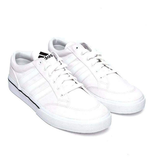 Tenis adidas Vs Set Canvas Blanco Hombre Moda Clásico Retro