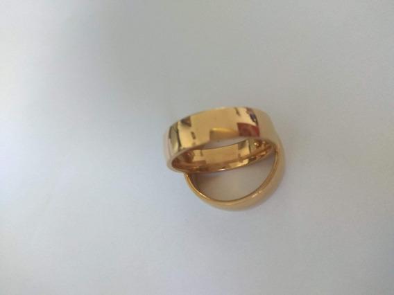 Aliança Folheada A Ouro Polido Modelo Tradicional 6mm