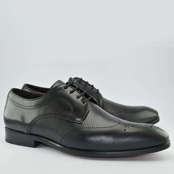 Sapato Social Infinity Brogue Wingtip Black