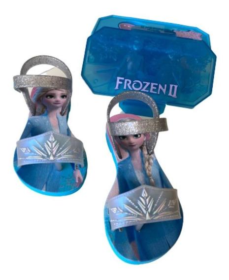 Kit Sandália Feminina Infantil Frozen E Uma Lancheirinha