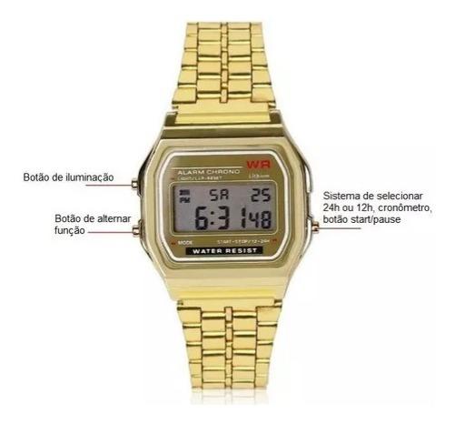 Relógio Digital Retro Vintage Wr Dourado