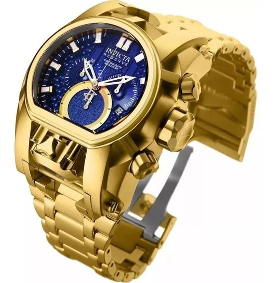 Relógio Invicta Zeus Magnum Dourado Azul 25209 Caixa