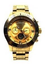 Relógio Masculino Dourado De Pulso Gold