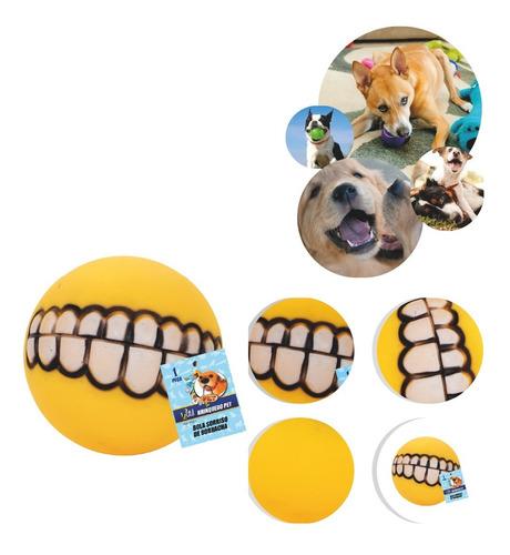 Brinquedo Bolinha Mordedora Sorriso Rindo Amarelo Cachorro
