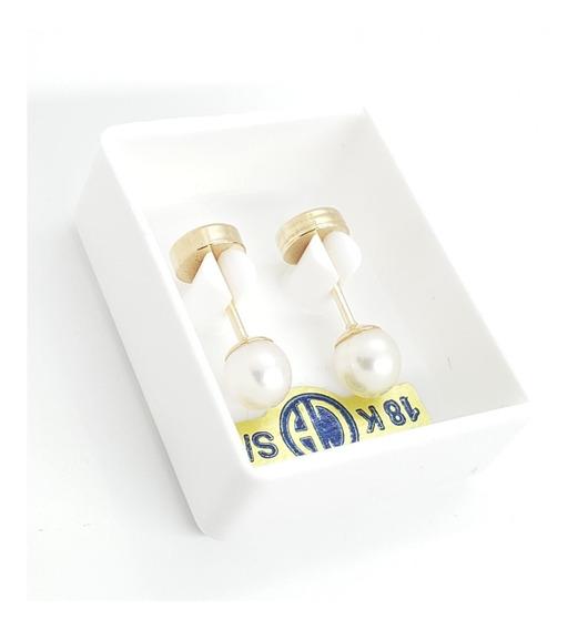 Aros Abridores Oro 18k Perla Cultivada 4mm Ch11-68d