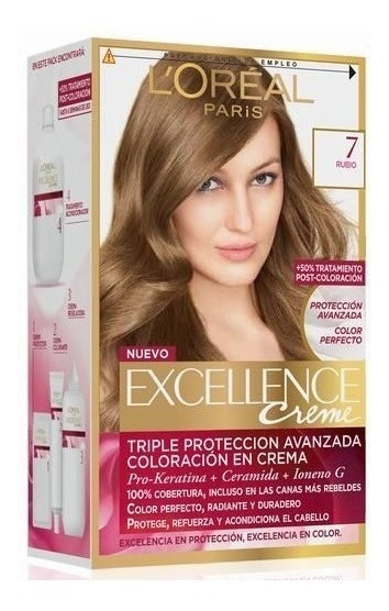 Kit Tintura Excellence Creme Loreal Color 7 Rubio