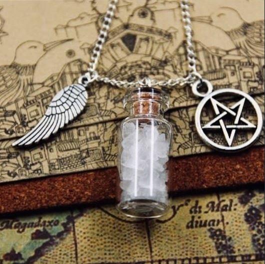 Amuleto Sobrenatural Sal Grosso Pentagrama Asa Original