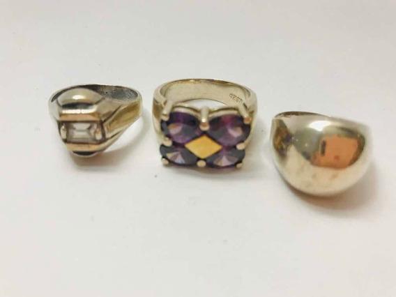 Lote De 3 Anéis De Prata 925 Com Pedra Ametista E Outros