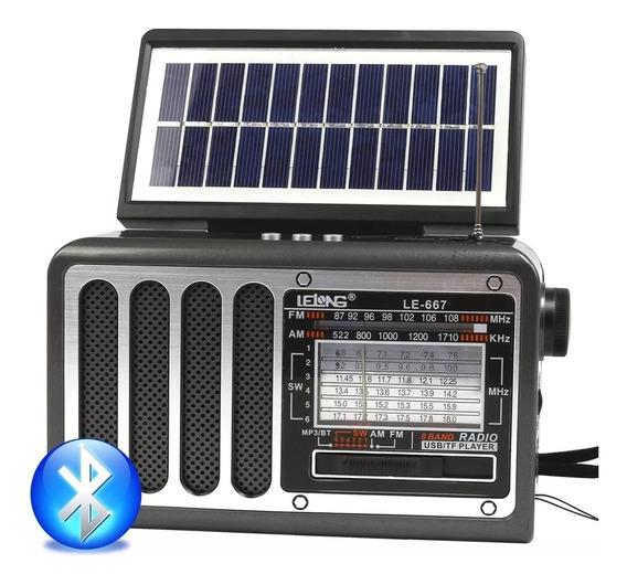Rádio Am Fm Sw Portátil Bluetooth Mp3 Usb Sd Painel Solar !