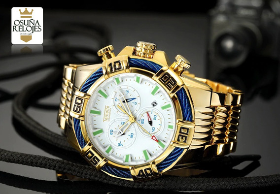 Relógio Masculino Bolt Dourado Prata Preto Pesado Original