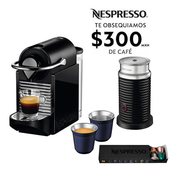 Cafetera Nespresso Pixie 2 En 1 Negro Verde Espumador Leche